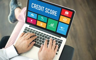 laptop showing credit score