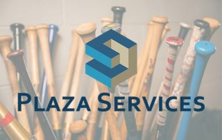 collection of baseball bats with Plaza Services' logo layered over the image